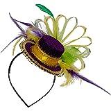 Skeleteen Purple Top Hat Headband - Mardi Gras Mini Hat Dress Up Hair Costume Accessories Head Band for Women and Children