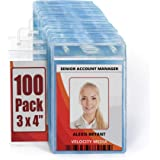 MIFFLIN Large (L) Vertical ID Badge Holders (Clear, 4x3 inch, 100 Pack), Plastic Nametag Covers with Zipper, Name Tag Holder