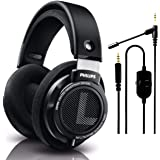 Philips SHP9500 Wired, Over-Ear, Headphones, Comfort Fit, Open-Back 50 mm Neodymium Drivers (Black) + NeeGo Attachable Microp