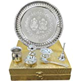 Peegli Indian Traditional Pooja Thali with Box Handcrafted German Silver Puja Thali Set of 7 Pcs Festival Ethnic Arti Thali 8
