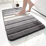 "DEXI Bath Mat for Bathroom Absorbent Rug Non-Slip Low Profile Shower Tub Mats 20""x32"",Gray"