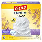 Glad Tall Kitchen Drawstring Trash Bags - OdorShield 13 Gallon White Trash Bag, Febreze Mediterranean Lavender - 80 Count (Pa