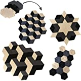 MOMOJI Modular Area Rug | Black, Off White and Grey - Geometric Changeable Rugs for Bedroom Living Room Kitchen Home Office S