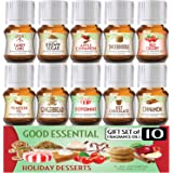 Holiday Desserts Good Essential Fragrance Oil Set (Pack of 10) 5ml Set - Peppermint, Apple Cinnamon, Hot Chocolate, Cherry, P