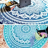 Set of 2 Ombre Mandala Round Hippie Tapestry Indian Bohemian Roundie Picnic Table Cover Hippy Spread Boho Gypsy Cotton Tablec