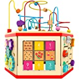 Wooden Activity Cube - Bead Maze Toy Gear for Toddler Kid, Counting Toys for 1year Old Baby Girls Gift