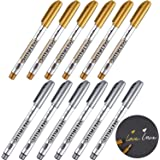 Gold and Silver Metallic Marker Pens, Metallic Permanent Markers Suitable for Cards Writing Signature Lettering Metallic Pain