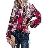 YIJIU Women's Casual Boho Floral Printed Round Neck Long Sleeve Shirt Loose Blouses Tops