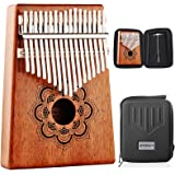 Kalimba - Kithouse Finger Piano Thumb Piano 17 Key with Case Bag - Portable Mahogany Wood African Music Instrument Mandala Fl