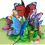 Paper Love Butterflies Pop Up Card, 3D Popup Greeting Cards, for Mothers Day, Spring, Fathers Day, Graduation, Birthday, Wedd