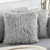 WLNUI Decorative Light Gray Fluffy Pillow Covers New Luxury Series Merino Style Faux Fur Throw Pillow Covers Fuzzy Cushion Co