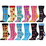 WeciBor WoMen's Colorful Casual Socks Cool Fancy Novelty Combed Cotton Crew Socks Pack