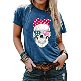 American Flag T-Shirt Women Rock and Roll Style Shirt USA Skull Shirt Summer Funny Skull Knot 4th of July Tees Tops