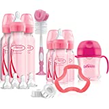 Dr. Brown's Options+ Baby Bottles Pink Gift Set with Silicone Teether, Pink Sippy Cup, Pink Bottle Brush and Travel Caps, inc