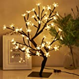 """PEIDUO 17.7"""" Lighted Cherry Blossom Tree 48 Warm White Lights Plug in Adapter Light up Bonsai Tree for Home Bedroom Wedding O"""