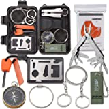 Emergency Survival Kit, Monoki 9-In-1 Compact Outdoor Survival Gear Kits Portable EDC Emergency Survival Tools Set with Gift