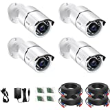ZOSI 4PACK 1920TVL 1080P 4-in-1 HD TVI/CVI/AHD/CVBS Security Cameras 100ft Night Vision CCTV Cameras Home Security Day/Night