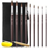 Artist Paint Brushes Set- Round Detail Paint Brush Set, Sable Hair 9 Different Sizes for Watercolors, Acrylics, Inks, Gouache