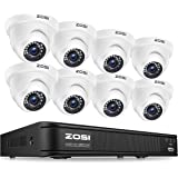 ZOSI 720p HD-TVI Video Security System,1080N 8 Channel Security DVR and (8) 1.0MP 1280TVL Outdoor/Indoor Dome Surveillance Ca