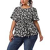 Agnes Orinda Plus Size Blouses for Women Short Sleeve Chiffon Floral Ruffle Peplum Blouse