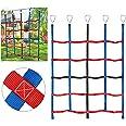 MONT PLEASANT Climbing Cargo Net for Kids Ninja Net Climbing Swingset Polyester Rope Ladder for Jungle Gyms Playground Ribbon