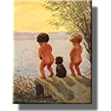 Boys by The Lake Distance Record Toilet Bathroom Picture Made on Stretched Canvas Wall Art Decor Ready to Hang.