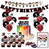 Nelton Birthday Party Supplies For Stranger Things Includes Banner - Cake Topper - 24 Cupcake Toppers - 18 Balloons - 10 Invi