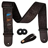 Guitar Strap Vintage Woven Style Adjustable Acoustic Electric Guitar Bass Strap with Leather Ends, Picks, Strap Bundle, Butto
