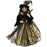 """18"""" Gold & Black Tabletop Fabric Halloween Fall Harvest Witch Collectible Figure Figurine 918004"""