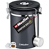 Muller Coffee Canister Stainless Steel Container for Coffee Beans or Grounds, Tea, Sugar, Rice - Day and Month Tracker, Build