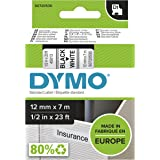 Dymo S0720530 Label Tape D1 Black on White Label Tape, (23482), 12mm x 7m