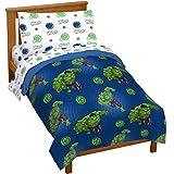 Jay Franco Marvel Avengers Assemble Hulk Out 4 Piece Toddler Bed Set – Super Soft Microfiber Bed Set Includes Toddler Size Co