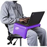Mind Reader LAPSTOR-PUR Folding Lap, Portable Laptop Desk, Breakfast, Bed Table, Serving Tray with Extra Storage Space for Bo