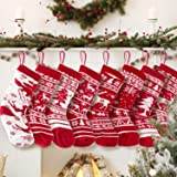 """KD KIDPAR 6 Pack 20"""" Knit Christmas Stockings, Large Rustic Yarn Xmas Stockings for Family Holiday Decorations"""