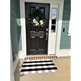 Cotton Buffalo Plaid Rugs 27.5x43 Inches Black and White Checkered Front Porch Plaid Door Mats Woven Washable Layered Welcome