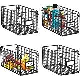 X-cosrack Foldable Cabinet&Wall Mounted Metal Wire Basket Organizer 4 Pack-12x6x6, Farmhouse Food Storage Mesh Basket Bin wit