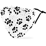 Weddingstar Washable Cloth Face Mask Reusable and Adjustable Protective Fabric Face Cover w/Dust Filter Pocket - Paw Prints