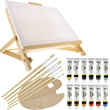 """US Art Supply 21-Piece Oil Painting Table Easel Set with, 12-Tubes Acrylic Painting Colors, 11""""x14"""" Stretched Canvas, 6 Artis"""