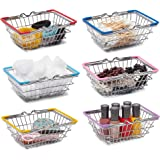 Juvale Mini Metal Storage Organizer Baskets for Makeup and Beauty Supplies (6 Pack)