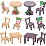 Skylety 12 Pieces Miniature Table and Chairs Set, Wooden Fairy Garden Furniture Ornaments Dollhouse Resin Fairy Table Chair f