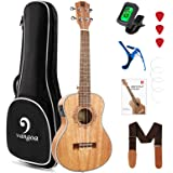 Tenor Ukulele Mahogany Electric Tenor Ukulele 26 Inch Mahogany Ukelele Starter Kit with Gig Bag for Beginners, by Vangoa
