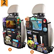 Car Backseat Organizer for Kick Mat, Upgraded Extended Size and Larger Pockets Car Back Seat Protector with 12