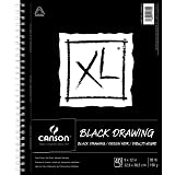 Canson 400077428 XL Series Black Drawing Paper- Side Wire, Black, 9 x 12 Inch, 40 Sheets