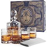 Whiskey Glass Set of 4 with Decanter - Elegant Square Rocks Whiskey Glasses Engraved | Stunning Craftsmanship Lead-free Bourb