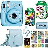 Fujifilm Instax Mini 11 Instant Camera - Sky Blue (16654762) + Fujifilm Instax Mini Twin Pack Instant Film (16437396) + Singl