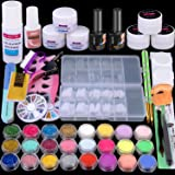 Acrylic Nail Kit Acrylic Powder Liquid Brush Glitter Clipper File Tips Gel Nail art Tools Kit Professional Acrylic Nail Set