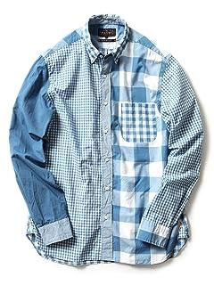 Indigo Crazy Pattern Buttondown Shirt 11-11-2476-139: Saxe