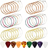 6 Sets Acoustic Guitar Strings Replacement Steel Guitar Strings Gold/Brass/Multicolor Guitar String with 9 Pieces Celluloid G
