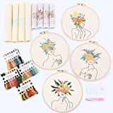 REEWISLY 4 pcs of Embroidery Starter kit with Patterns and Instructions, DIY Adult Beginner Cross-Stitch kit, Including 2 Pla