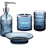 Whole Housewares Bathroom Accessories Set, 3-Piece Bath Accessory Completes with Soap/Lotion Dispenser, Toothbrush Holder, So